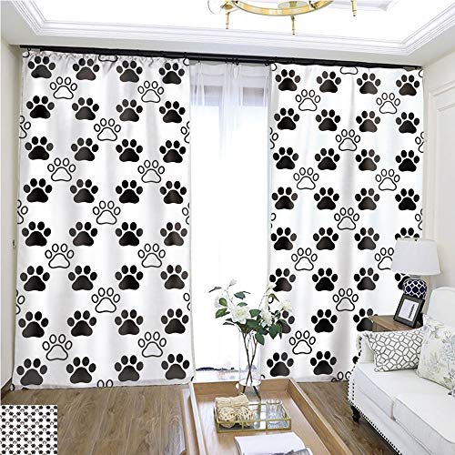 Rollup window Dog Paw seamless pattern vector footprint heart valentine cat kitten puppy bear scarf isolated cartoon repeat wallpaper tile background illustration white black W96