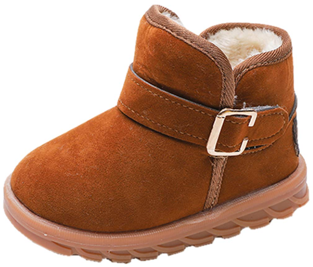 VECJUNIA Kids Suede Thicken Faux Fleece Lined Ankle Snow Boots (Brown, 9 M US Toddler)