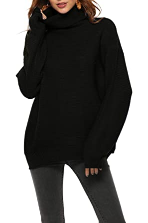 a6254ed71f Fantastic Zone Womens Turtleneck Pullover Sweater Long Sleeve Oversized  Knitted Warm Sweaters