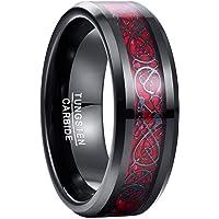 Vakki メンズ リング タングステン 炭素繊維 カーボンファイバー ドラゴン 竜紋 指輪 耐久性に優れた 高級 平打ち 幅 8mm 指輪