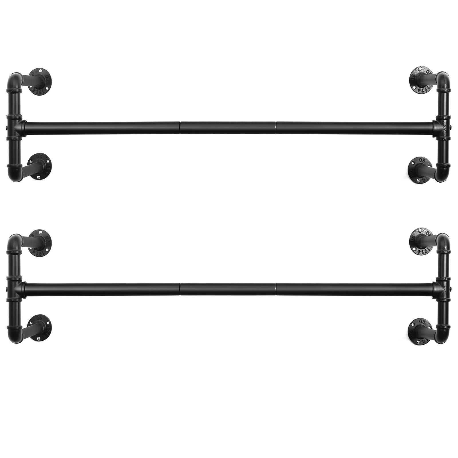 SONGMICS Wall-Mounted Clothes Rack, Set of 2, Industrial Pipe Clothes Hanging Bar, Space-Saving, 43.3 x 11.8 x 11.5 Inches, Holds up to 132 lb, Easy Assembly, for Small Space, Black UHSR64BK-02