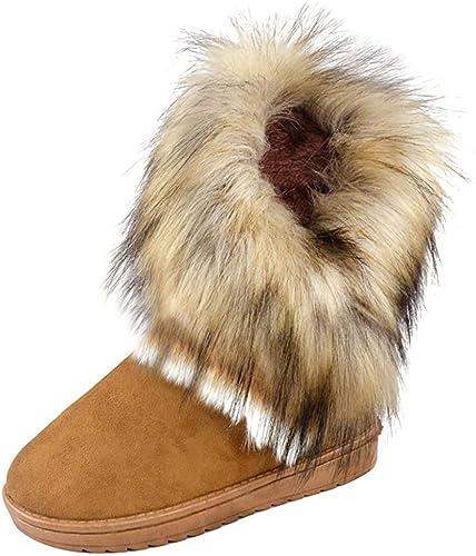 Meedot Damen Flach Stiefel Warm Gefütterte Schnee Stiefel Winter Boots mit Fell Stiefeletten Schlupfstiefel Kurzschaft Schwarz Braun Grün 36 40