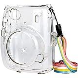 Ridecle Capa de câmera de cristal com alça de ombro ajustável de arco-íris compatível com Fujifilm Instax Mini 11
