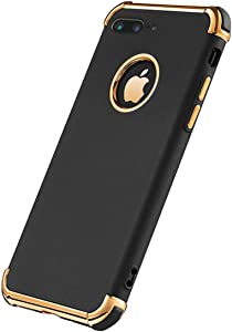 iPhone 7 Plus Case, Ultra Slim Flexible iPhone 7 Plus Matte Case, Styles 3 in 1 Electroplated Shockproof Luxury Cover Case for iPhone 7 Plus (BLACK)