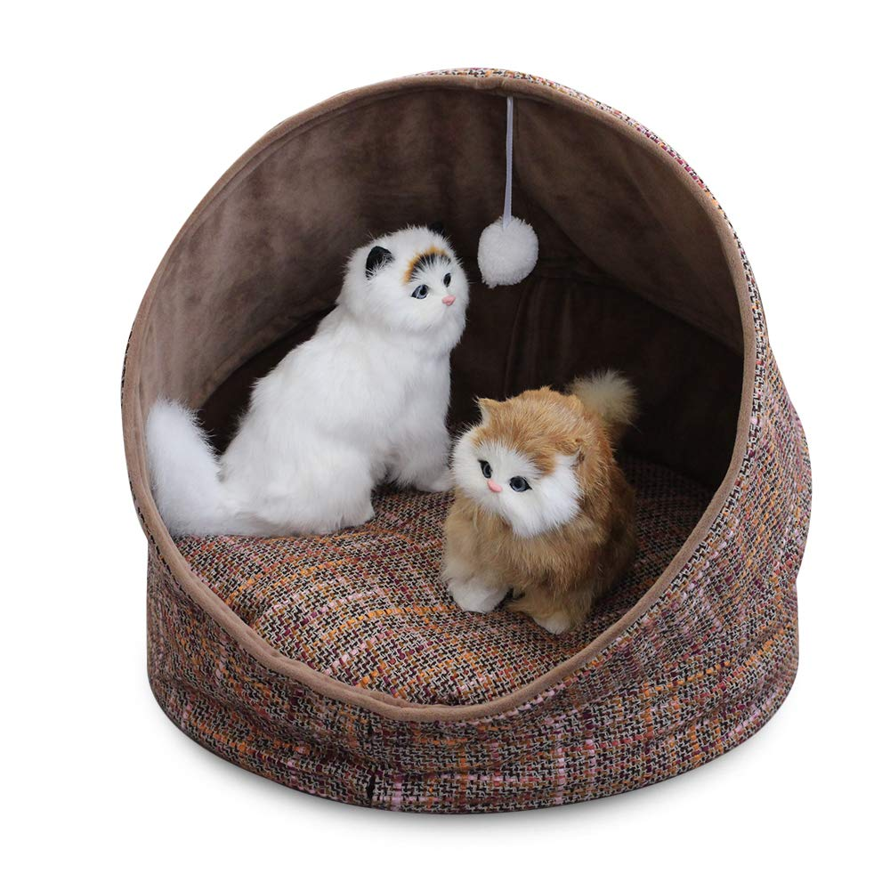 Dark Brown WarmShe Cuddle Cave Pet Bed Tent for Cats or Small Dogs, Washable Foldable Kitten House with Luxury Shag Faux Fur Mattress & Toy Ball Dark Brown