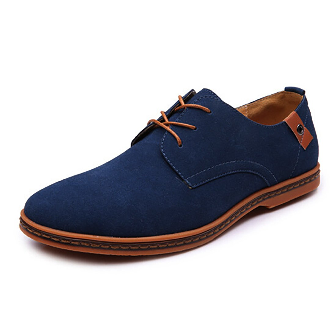 Newest 2018 Fashion Casual Genuine Leather Oxford Classic Lace up Urban Shoes (10, Blue)