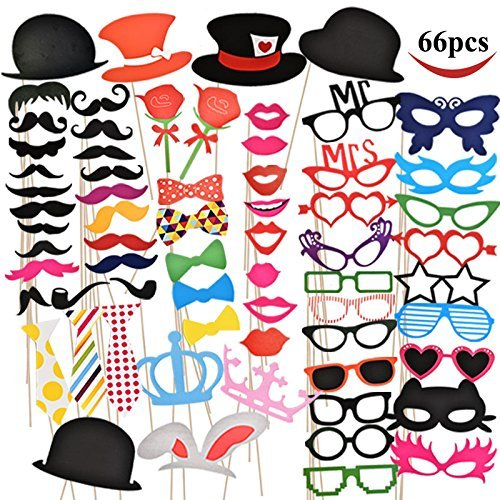 B01F3288OE Photo Booth Props 66 Pieces for $<!--$9.95-->