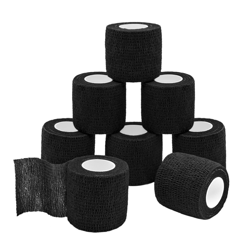 GooGou Self Adherent Wrap Bandages Self Adhering Cohesive Tape Elastic Athletic Sports Tape for Sports Sprain Swelling and Soreness on Wrist and Ankle 8PCS 2 in X 14.7 ft (black)