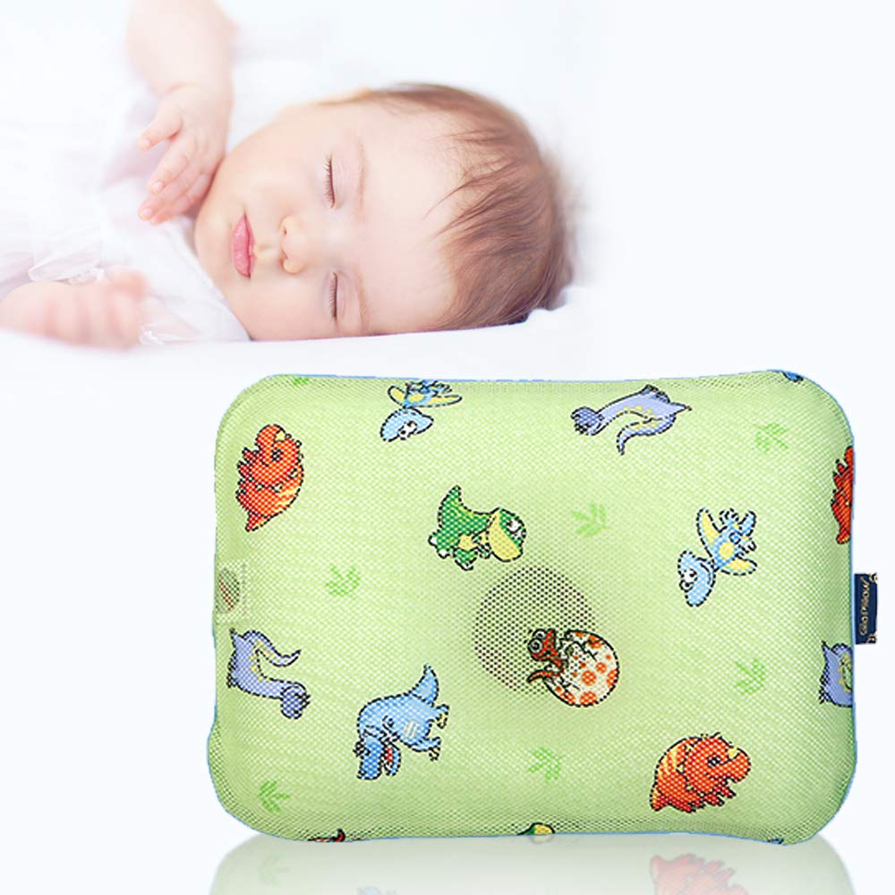 Gio Pillow 3D Air Mesh Toddler Pillow, Premium Head Shaping Pillow, Flat Head Syndrome Prevention, Made in Korea [Jurassic/Toddlers 6-24 Months]