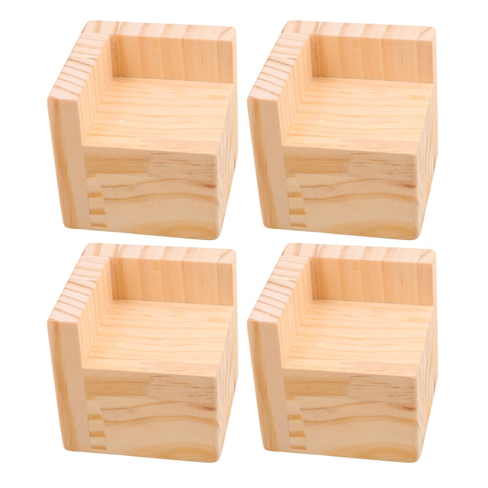 RDEXP 7.5x7.5x7.3cm L-Shaped Semi-Closed Lift Wood Bed Desk Riser Lifter Table Furniture Feet Lift Storage Set of 4
