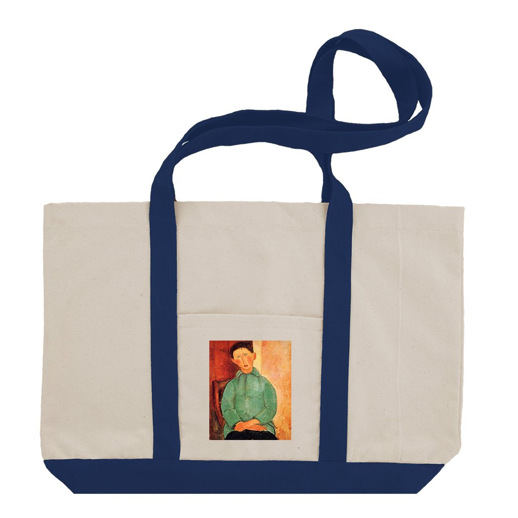 Boy In A Blue Jacket #2 (Modigliani) Cotton Canvas Boat Tote Bag - Royal Blue by Style in Print