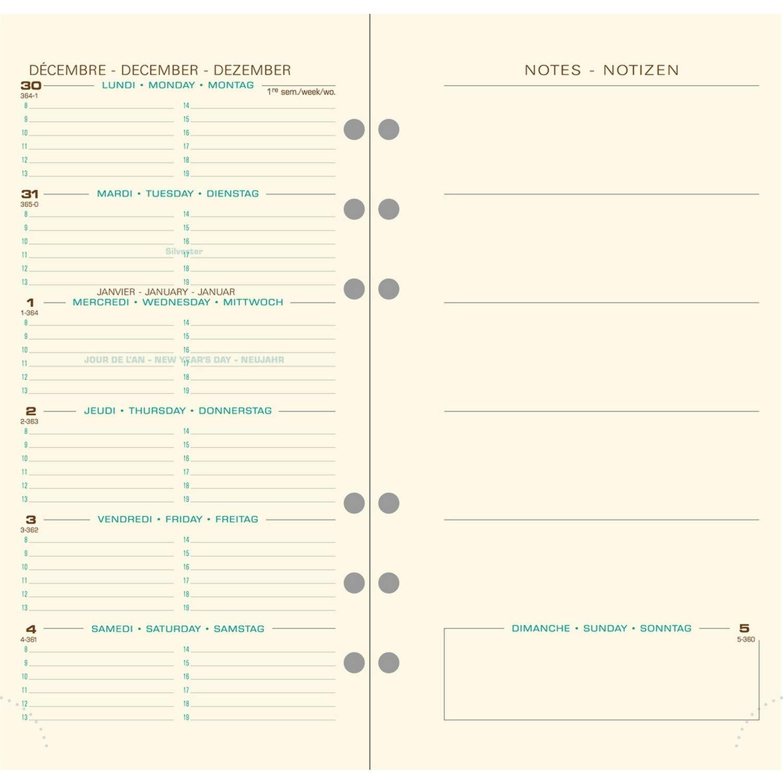 Exacompta 18644E - Recambio para agenda Exatime 17 Pocket (año 2018, 17 x 9.2 x 1 cm, texto en francés con notas)