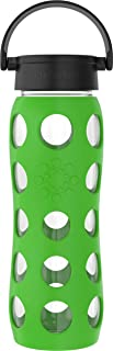 product image for Lifefactory 22-Ounce BPA-Free Glass Water Bottle with Classic Cap and Protective Silicone Sleeve, Moss
