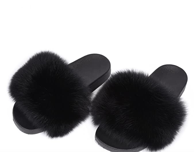 Lea-Marie Damen Pantoffeln mit 100% Echtfell Echtpelz Weicher Fuchfell Pelz Flache Sandalen Indoor/Outdoor Slipper Pantoletten (45, Weiß)