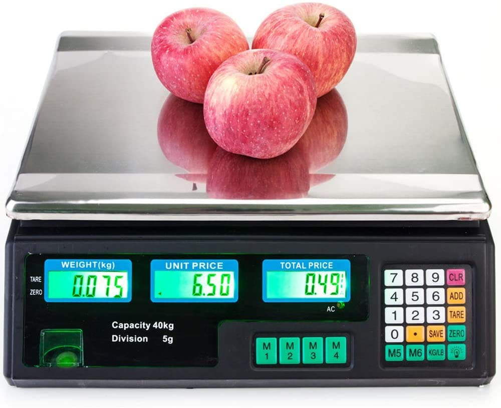 88Lb/40Kg Electronic Price Computing Scale Digital Deli - Commercial Digital Scale Food - Food Produce Weight Scales with LCD Display for Fruit Vegetable Meat Supermarket Retail Outlets