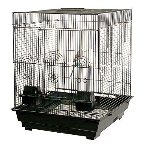 Anini Apartment Flattop Bird Cage - 18''W x 18''D x 23''H - Black by BirdCages4Less