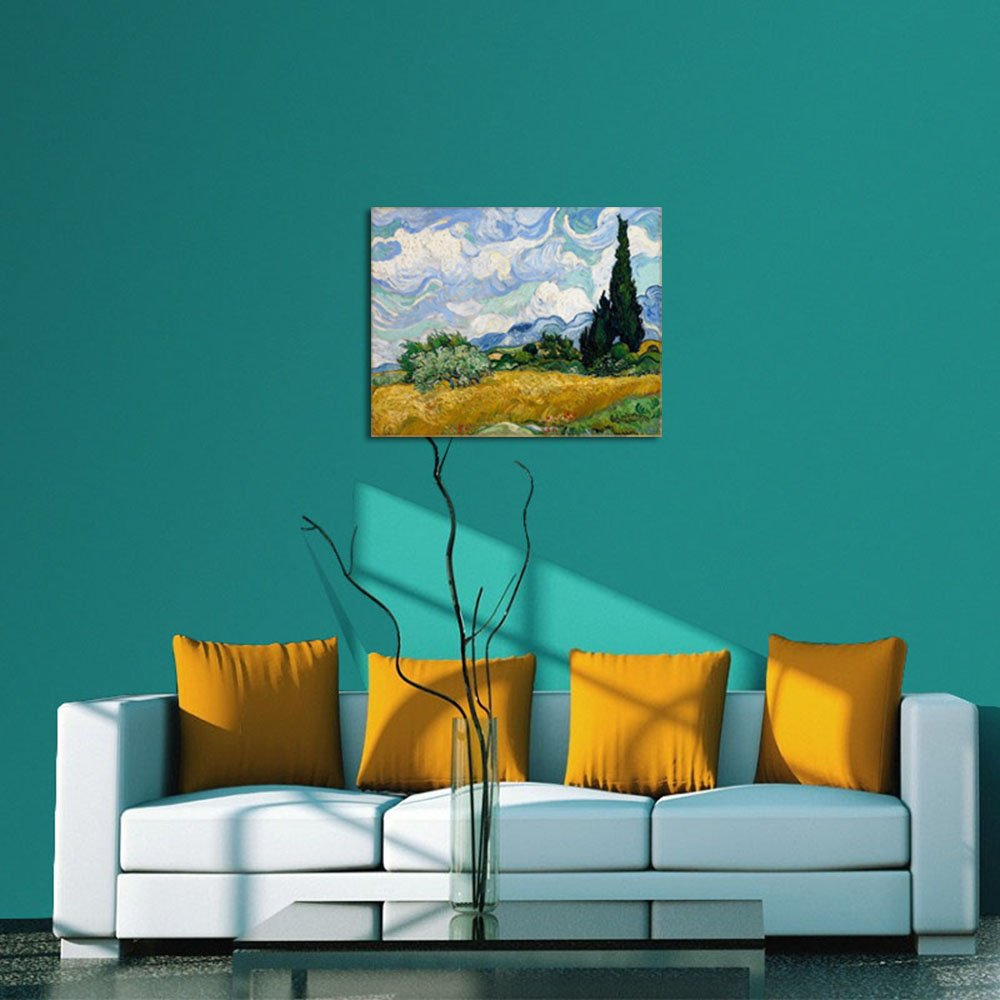 Wieco Art Wheat Field with Cypresses by Van Gogh Classical Oil Paintings Reproduction Large Modern Canvas Print Wall Art Landscape Pictures Stretched and Framed Giclee s Artwork for Home Office Decor