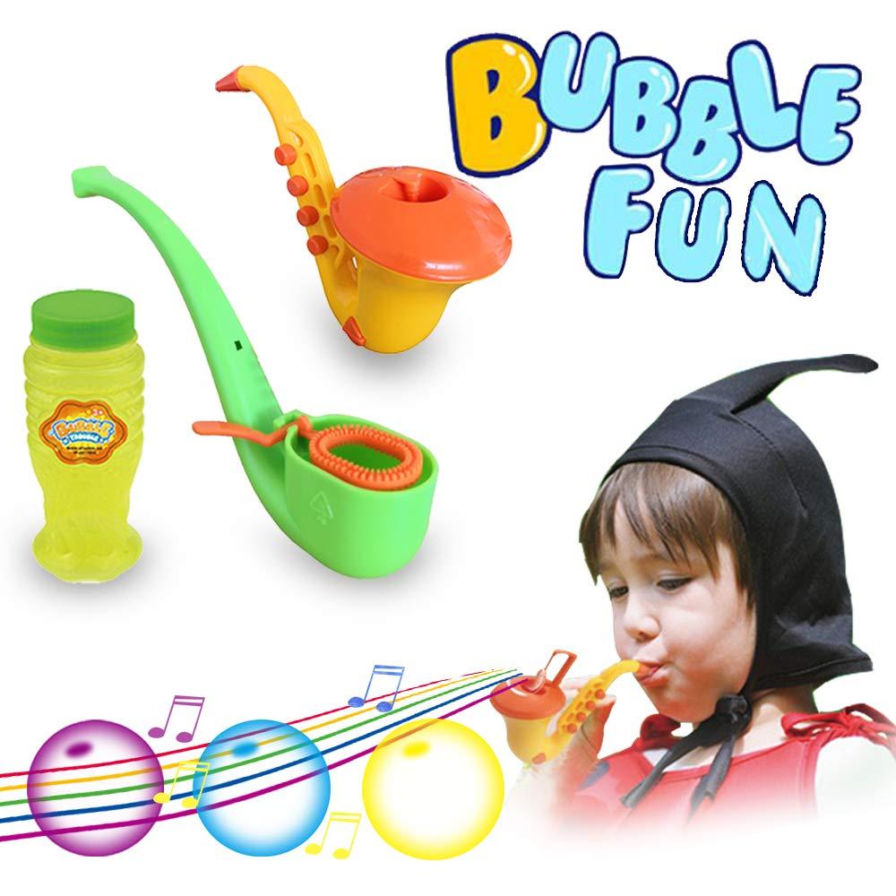 ZHENDUO Bubble Maker Machine No Spill Bubbles Saxophone Shape Bubble Pipe Set Bubble Kits Blowing Novelty Toys Bubbles Kids Bubble Solution