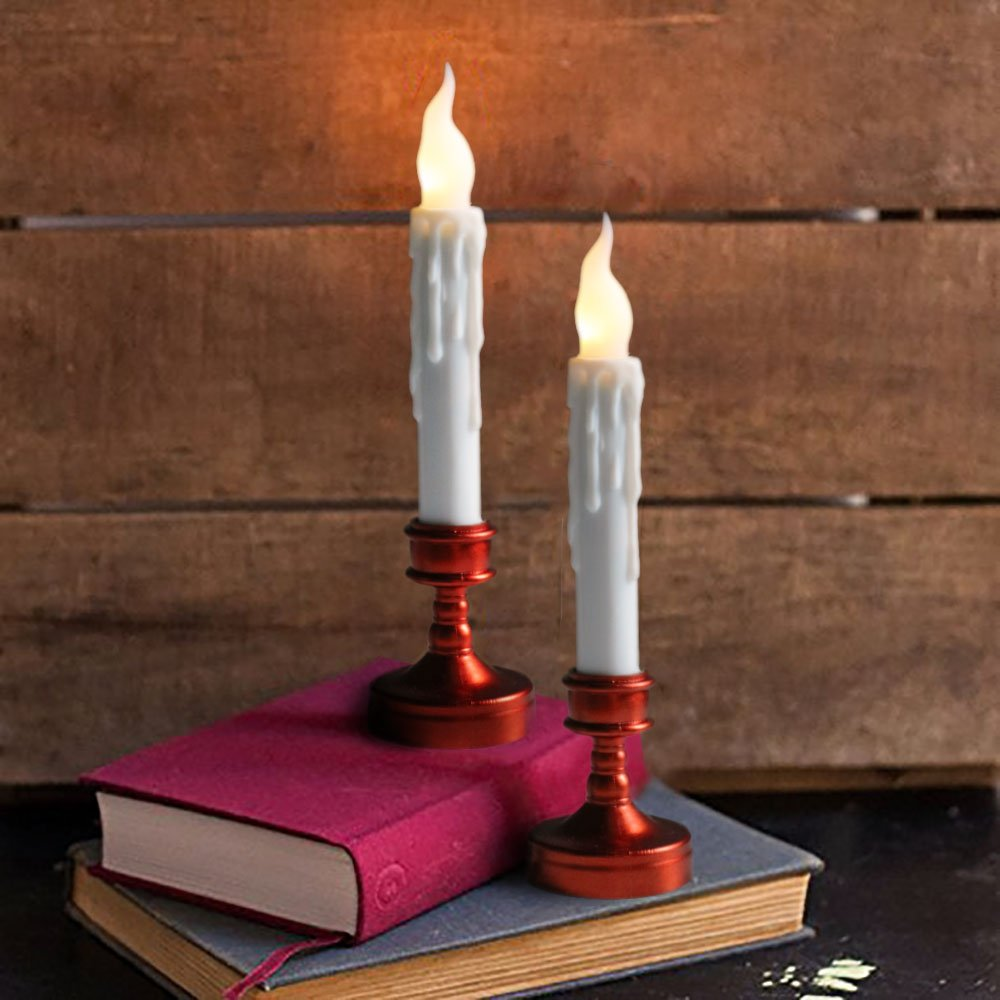 Youngerbaby Taper Candles Flameless Candle Flickering Bulb Battery Operated LED Candle for Christmas,Wedding,Thanksgiving,Home,Halloween Decorations 6pcs Warm White by