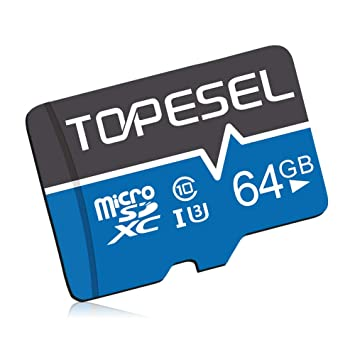 Tarjeta Micro SD 64GB, TOPESEL Tarjeta Memoria Alta Velocidad 85 MB/s SDXC Mini Tarjeta TF para Móvil, Tablet, Cámara, Tarjeta microSD 64GB (Class 10, ...