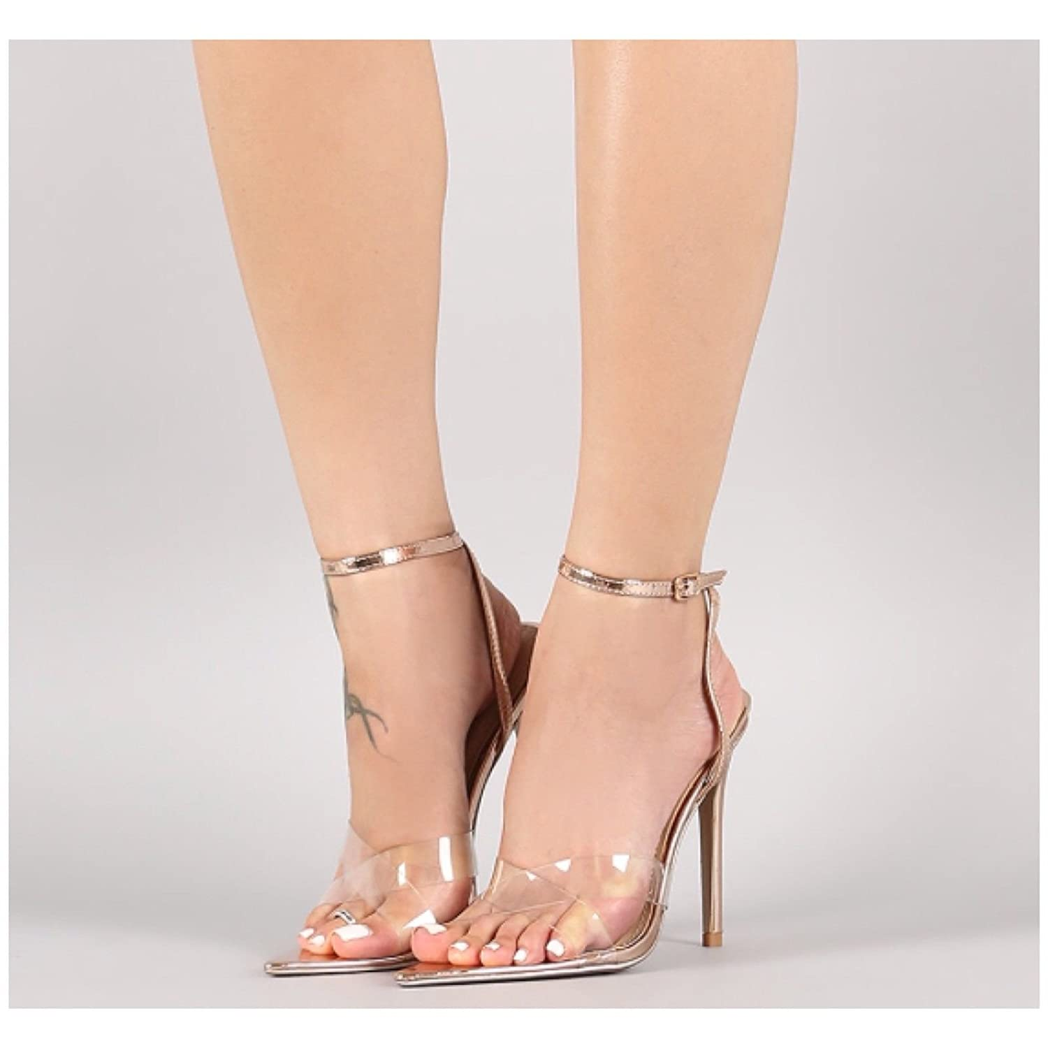 f3947968d91 Cape robbin women pointed toe transparent high heels clear dress sandals  ankle strappy bukle stilettos heeled