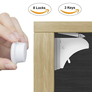 Baby U0026 Child Safety Locks, HUIRUI Child Safety Cabinet Locks Magnetic Baby  Drawer Lock Strong