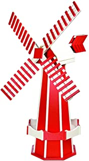 product image for DutchCrafters Decorative Poly Two-Tone Windmill (Large, Cardinal Red/White)