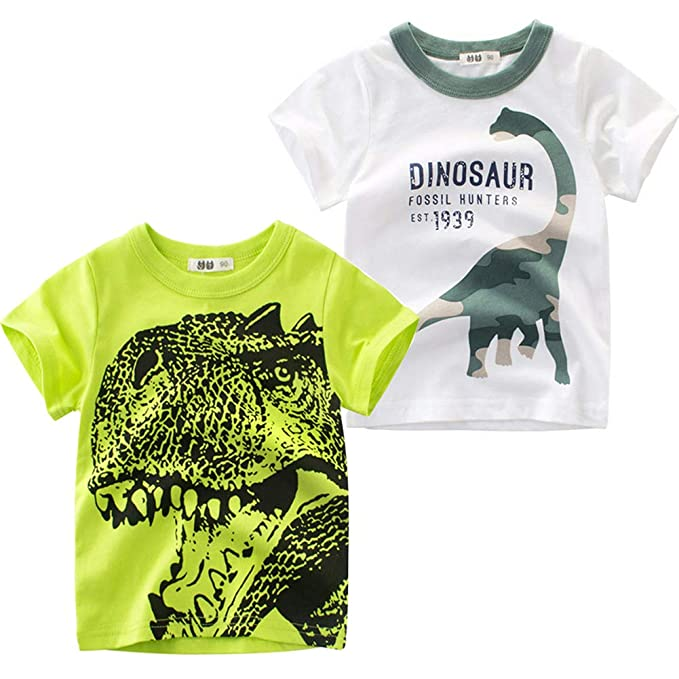 3ca8639de051 Amazon.com  Frogwill Boys Dinosaur Short Sleeve T-Shirt Top Tee Size ...