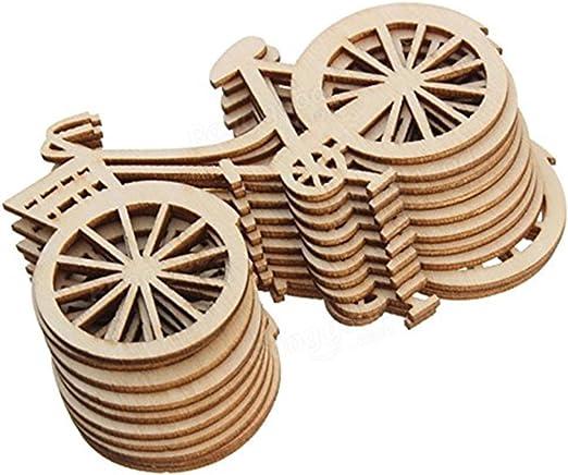 Westeng 10pcs Decoraciones de Madera Forma de Bicicleta Adornos de ...