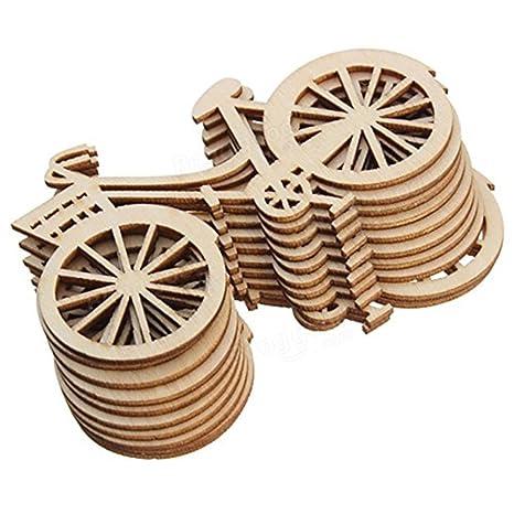 Westeng 10pcs Decoraciones de Madera Forma de Bicicleta Adornos de Madera DIY Size 8.8 * 5cm