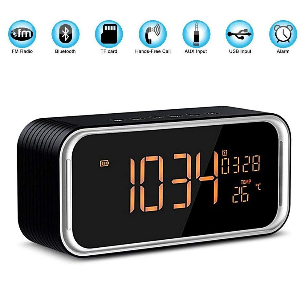 Portable Bluetooth Speaker, POWERIVER 4.2 Wireless Bluetooth Speakers with One Button Hands-Free, FM Radio Function and Wireless Speaker with Time,Date,Temperature,Double Alarm Clock (Black)