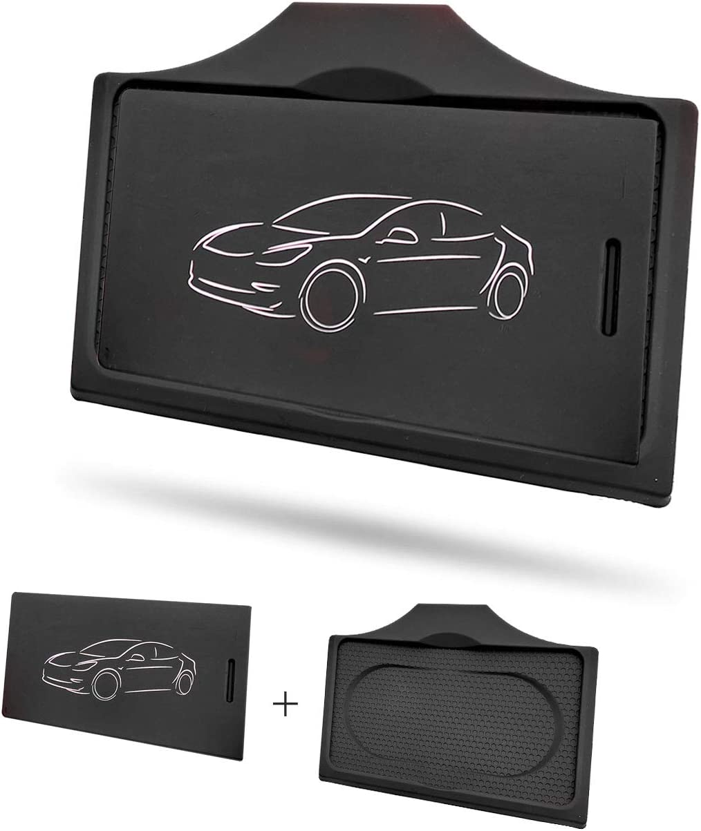 Set of 2,Combined Package,Stop Card Sliding LFOTPP Tesla Model 3 Center Console Key Card Holder /& Cards Sleeve Silicone Key Chain Black
