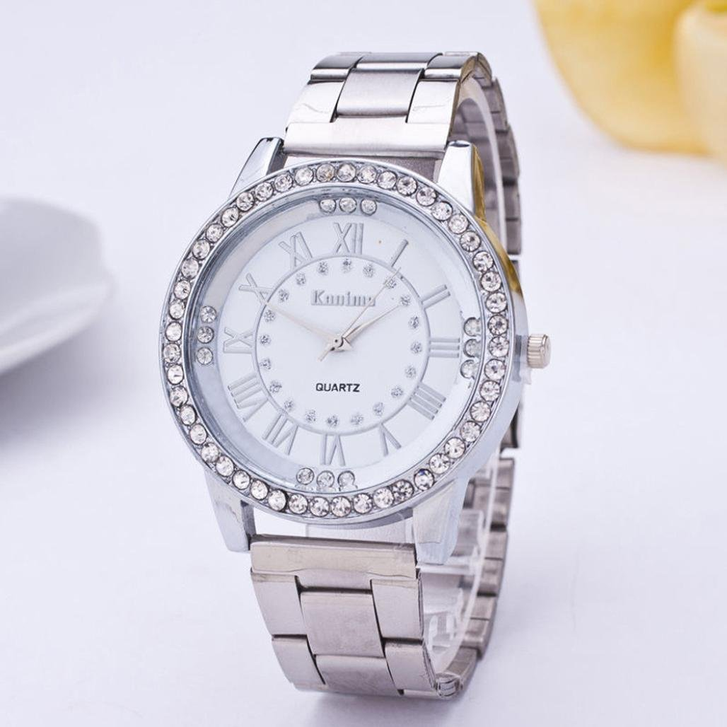 Pandaie Watch Promotion! Women's Men's Crystal Rhinestone Stainless Steel Analog Quartz Wrist Watch (Silver) by Pandaie (Image #2)