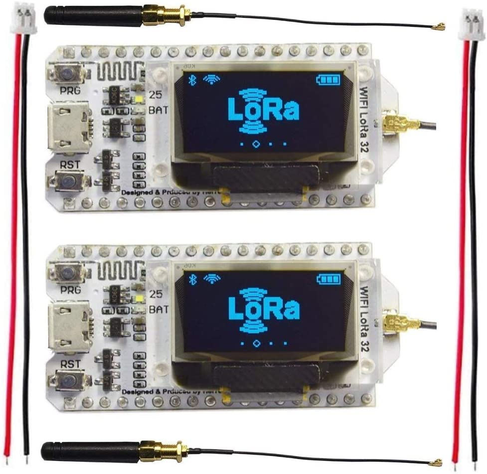 2 Sets Assembled ESP32 OLED WiFi Lora Kit 0.96inch OLED Display ESP-32S WiFi Bluetooth CP2102 Development Board Lora SX1276 915MHZ/868MHZ Antenna Transceiver for Arduino ESP8266 NodeMCU Smart Home