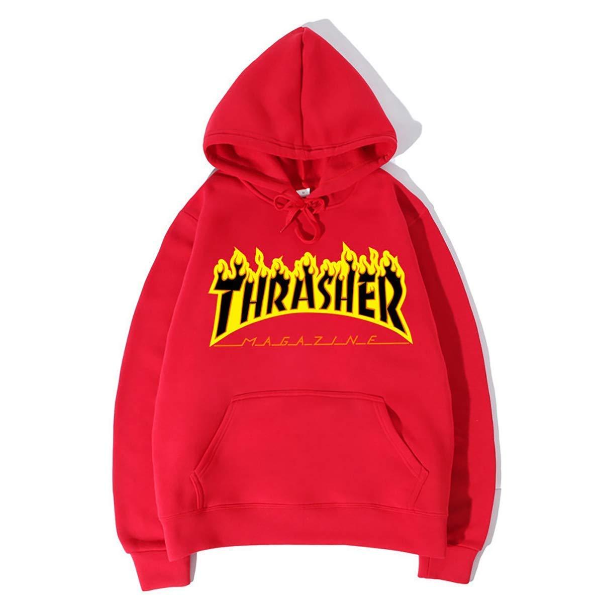 Red3 Large Men's Hooded Sweatshirt Sportswear Long Sleeve Print Loose Baseball Uniform Warm Autumn and Winter Plus Velvet Letters Flame