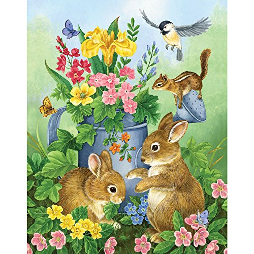 Price comparison product image Bits and Pieces - 100 Piece Jigsaw Puzzle - A Touch of Spring by Artist Jane Maday - Cute Bunnies - 100 pc Jigsaw