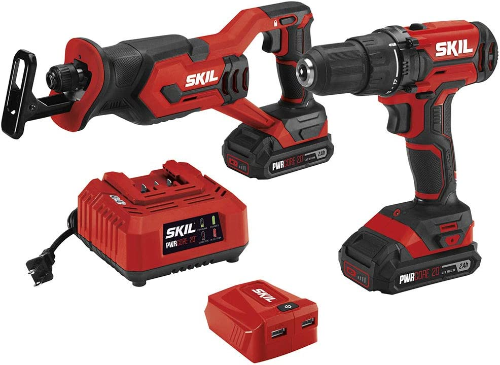 SKIL 3-Tool Combo Kit: 20V Drill Driver, Reciprocating Saw and PWRAssist USB Charging Adaptor, Includes Two 2.0Ah Lithium Batteries and One Charger - CB739401
