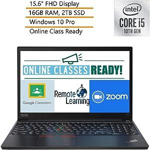 "2020 Lenovo ThinkPad E15 15.6"" FHD Business Laptop Computer, Intel Quad-Core i5-10210U, 16GB DDR4 RAM, 2TB PCIe SSD, Windows 10 Pro, iPuzzle DVD Extension, Webcam, Microphone, Online Class Ready"