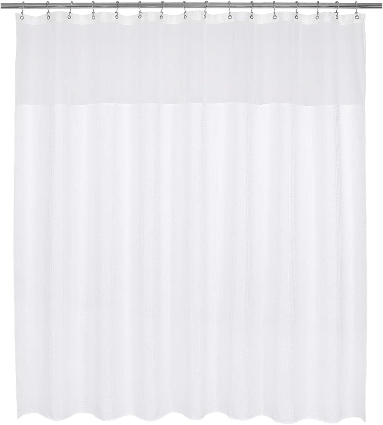 Barossa Design Large Fabric Shower Curtain with Sheer Window 96 x 78 inch, Waffle Weave, Hotel Collection, 230 GSM Heavyweight, Water Repellent, Machine Washable, White, 96x78