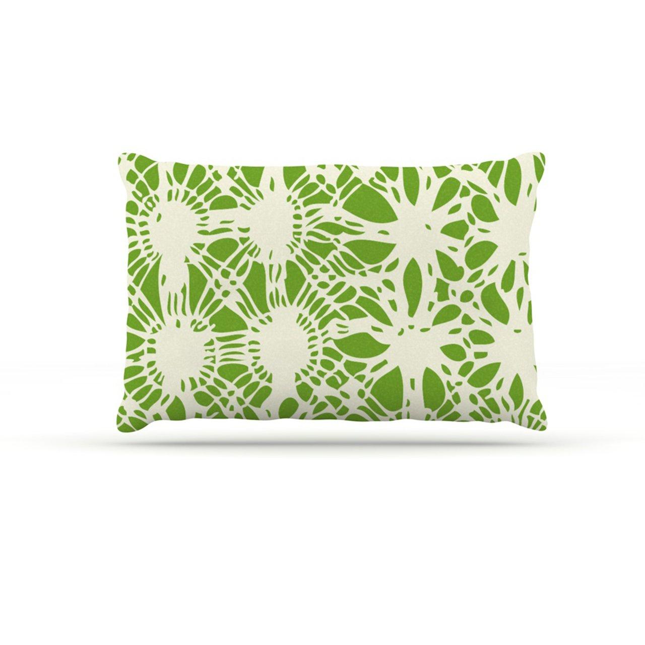 30 by 40\ Kess InHouse Laura Nicholson Drawnwork  Green White Fleece Dog Bed, 30 by 40