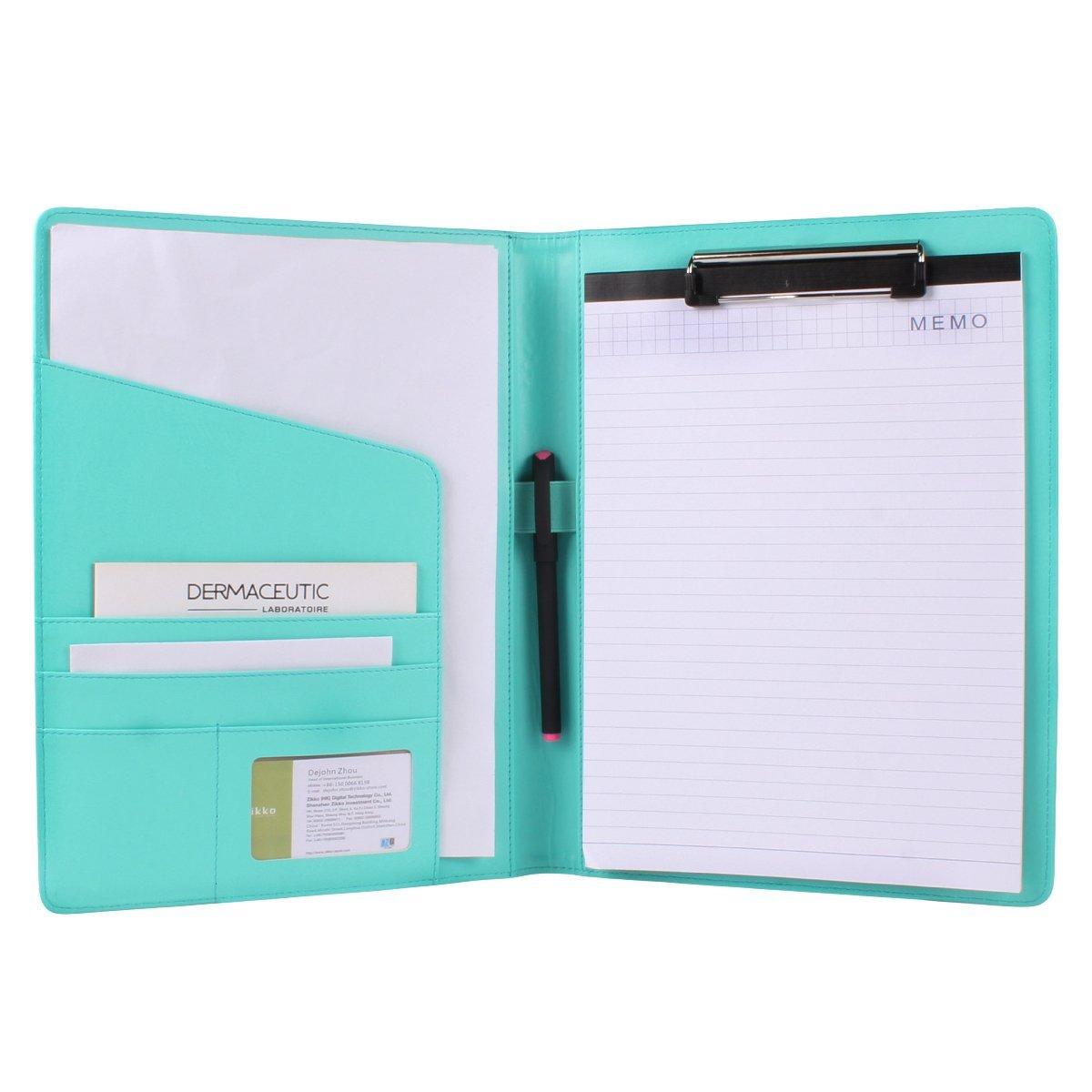 Geila PU Leather Resume Storage Clipboard Folder Portfolio Padfolio for Business School Office Conference (Blue)