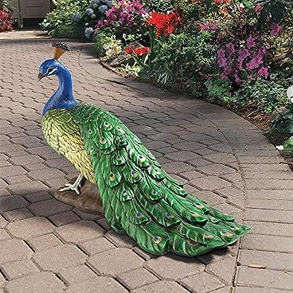 dfcda3e6d8b2e Design Toscano Regal Peacock Garden Bird Statue, Large, 34 Inch, Polyresin,  Full Color