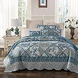 Tache 3 Piece Evening Tea 100% Cotton Floral Blue Quilt Bedspread Set
