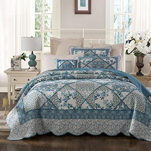 Tache 3 Piece Petal Dance Cotton Floral Patchwork Blue Quilt Bedspread Set, Cal King by Tache Home Fashion