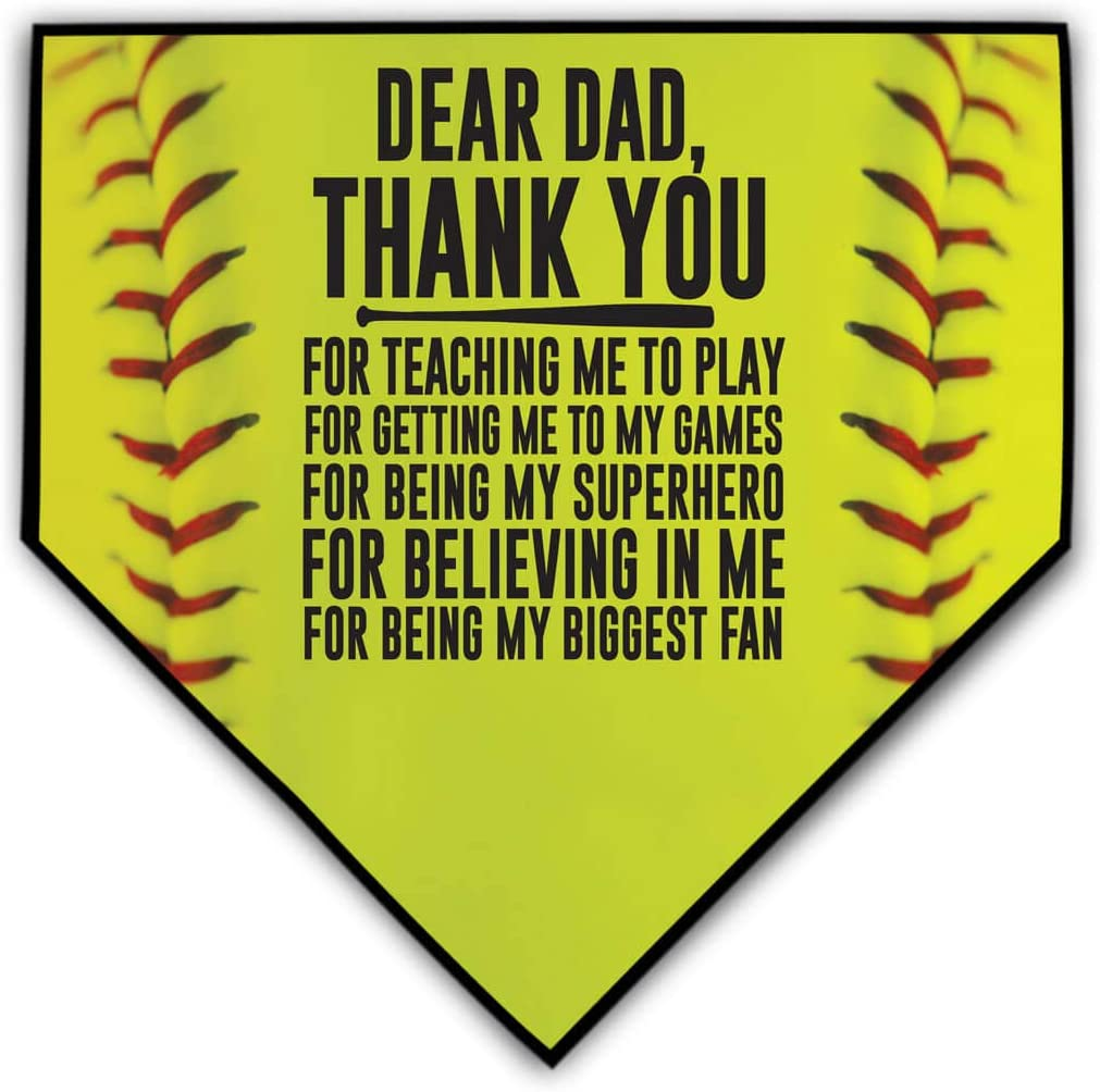 ChalkTalkSPORTS Softball Stitches Home Plate Plaque | Your Message to Mom or Dad | Ready to Autograph