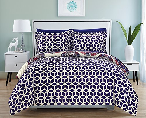 Chic Home Ibiza 2 Piece Duvet Cover Set Super Soft Reversible Microfiber Large Printed Medallion Design with Geometric Patterned Backing Zipper Closure Bedding with Decorative Shams, Twin Navy (Medallion Duvet Twin Cover)