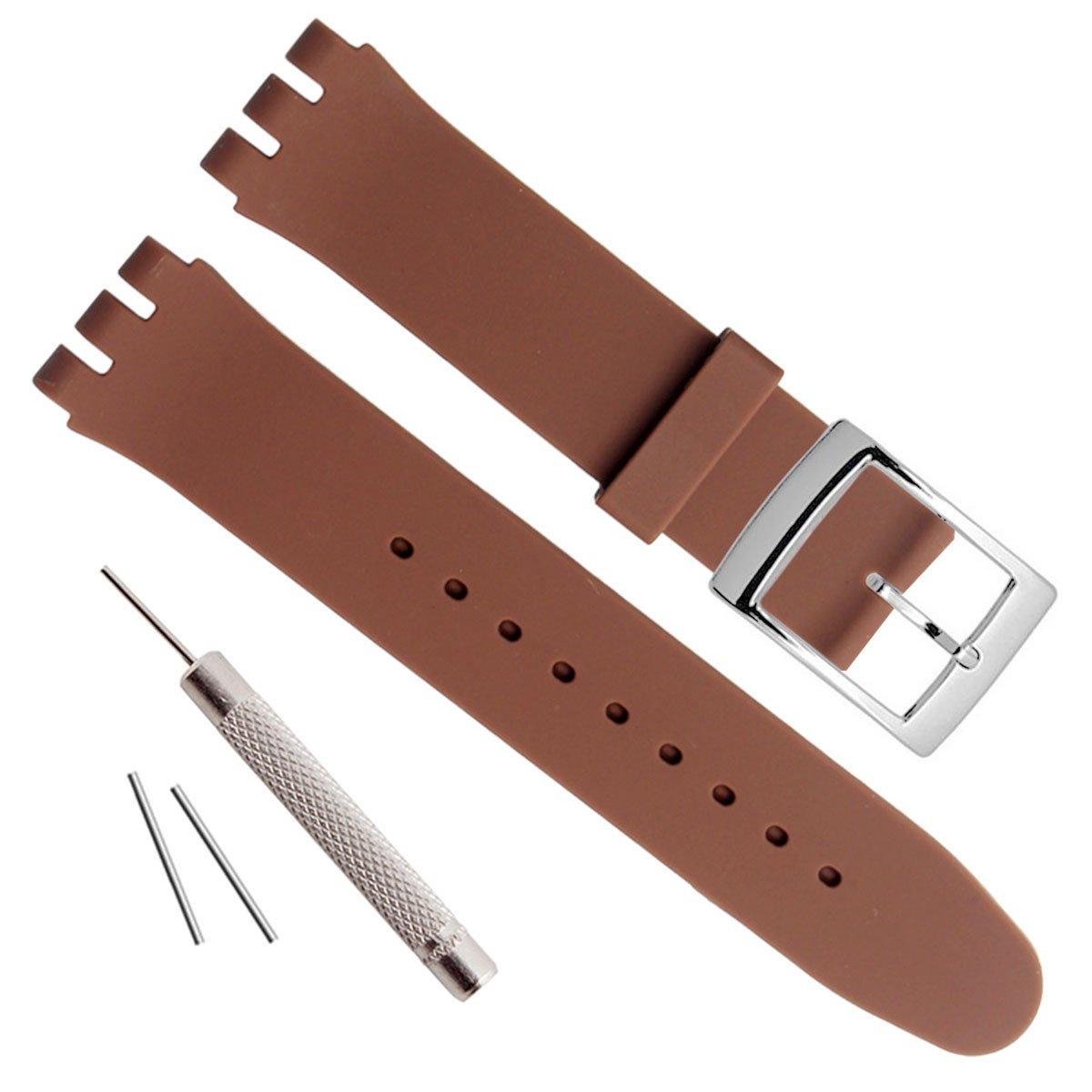 シルバーメッキステンレススチールバックル防水シリコンラバー腕時計ストラップ時計バンド 17mm ライトブラウン 17mm|ライトブラウン ライトブラウン 17mm B07796CNWD