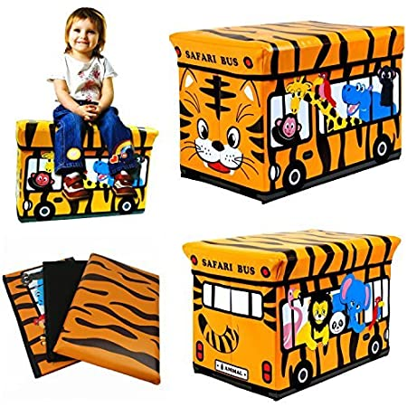 Kids Childrens Large Room Tidy Toy Quality Storage Box With Lid Boys Girls Books Folding Chest Clothes Seat Stool (Safari Bus) by FunkyBuys