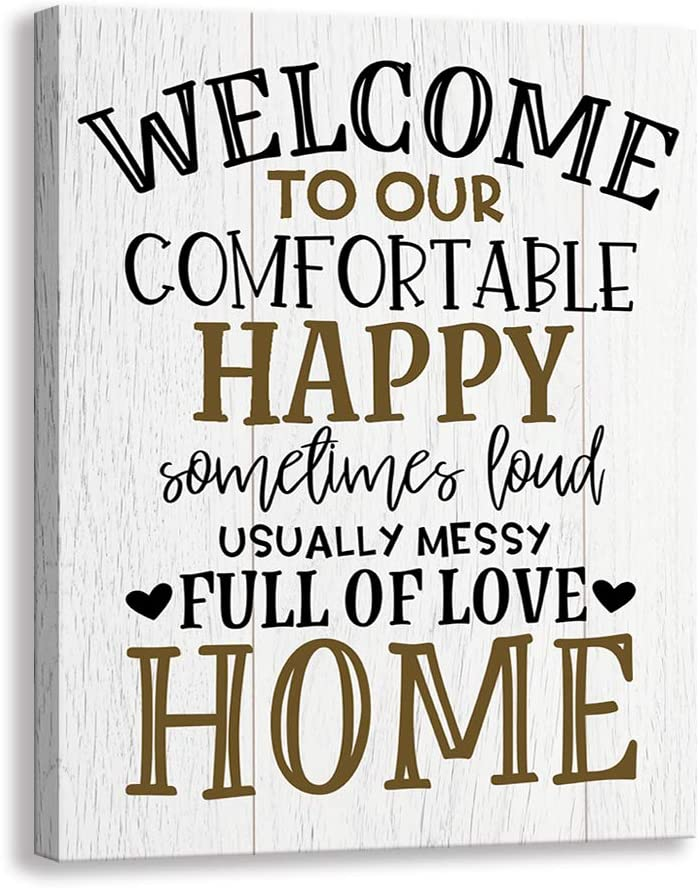 Kas Home Vintage Welcome Canvas Wall Art | Farmhouse Rustic Funny Family Prints Decorative Signs Framed | Wood Background Living Room Porch Wall Decor (15 x 12 inch, Welcome - 02)