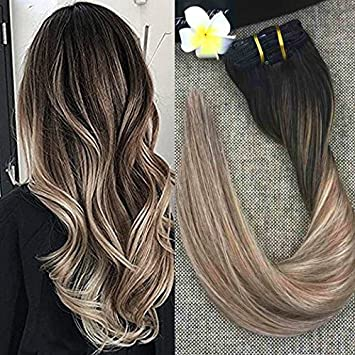 Amazon full shine 16 inch balayage ombre blonde hair full shine 16 inch balayage ombre blonde hair extensions clip in pastel hair extensions 100gram 10 pmusecretfo Images